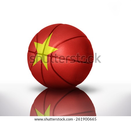 basketball ball with the national flag of vietnam on a white background - stock photo