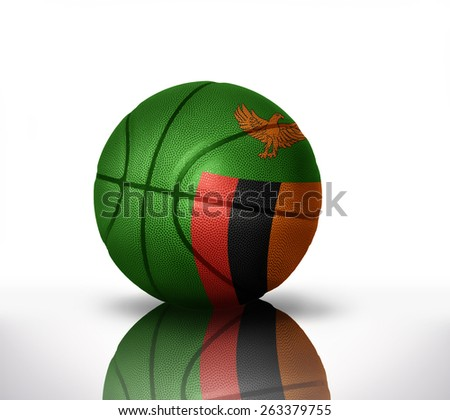 basketball ball with the national flag of zambia on a white background - stock photo