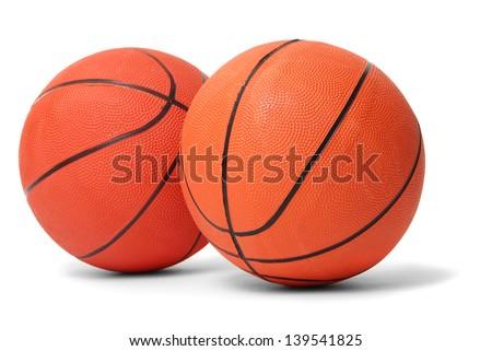 Basketball balls isolated on white - stock photo