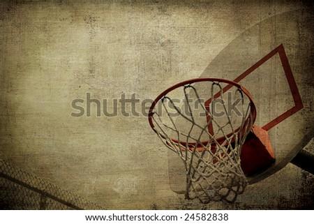 Basketball Basket Grunge - stock photo