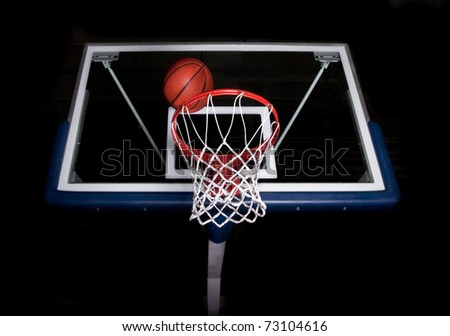 Basketball basket on black background