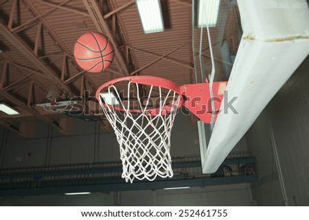 Basketball basket with all going through net - stock photo