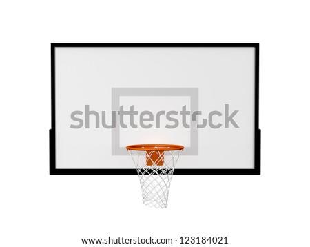 Basketball basket with black border frame, isolated on white background. - stock photo