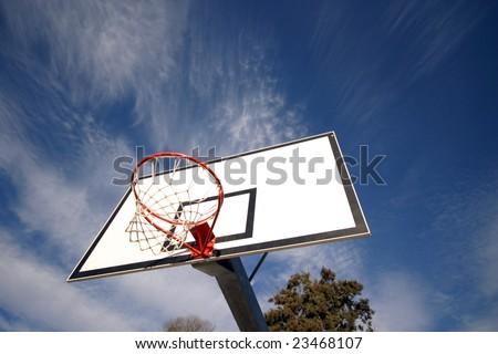 basketball board against blue sky - stock photo