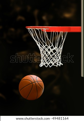 Basketball board and basketball ball on black background - stock photo