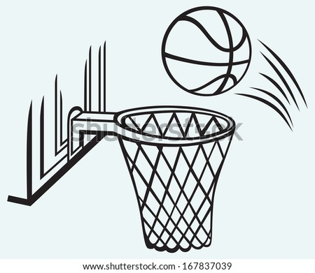 Basketball board isolated on blue batskground. Raster version - stock photo