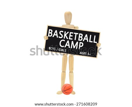 Basketball Camp blackboard boys and Girls five and up Wood Mannequin isolated on white background - stock photo