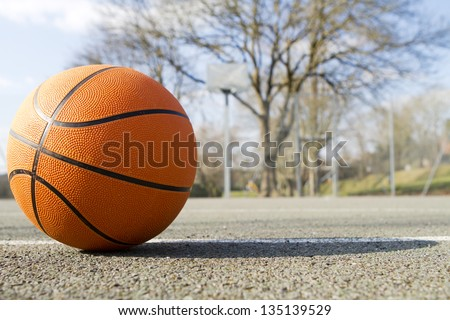 Basketball Close Up - stock photo