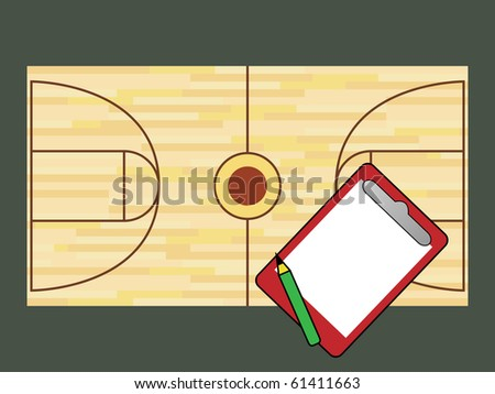 Basketball court and notepad - stock photo