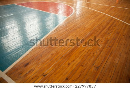 Basketball court closeup with reflection. Sports background - stock photo