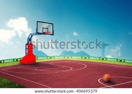 Basketball court 3D Illustration