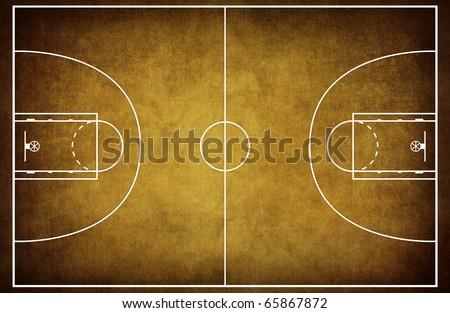 Basketball court floor plan on vintage background - stock photo