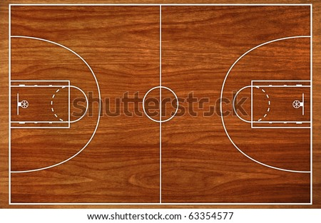 Basketball court floor plan on wooden pattern