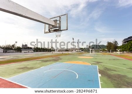 basketball court in high school - stock photo