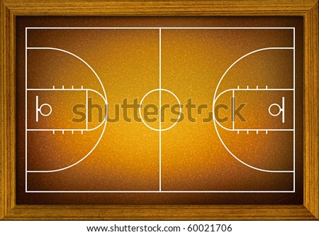 basketball court in the wooden frame. - stock photo