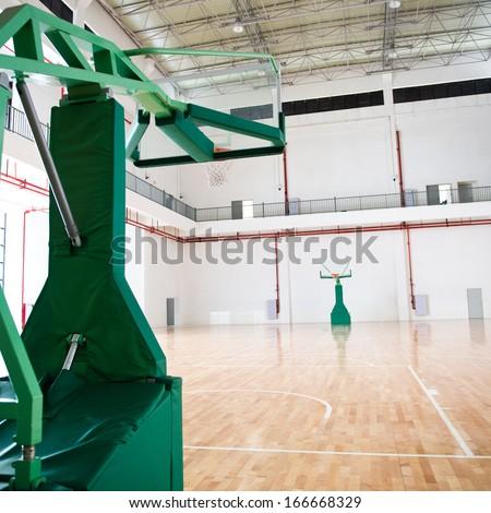 basketball court, school gym indoor. - stock photo