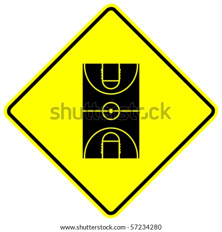 basketball court sign - stock photo