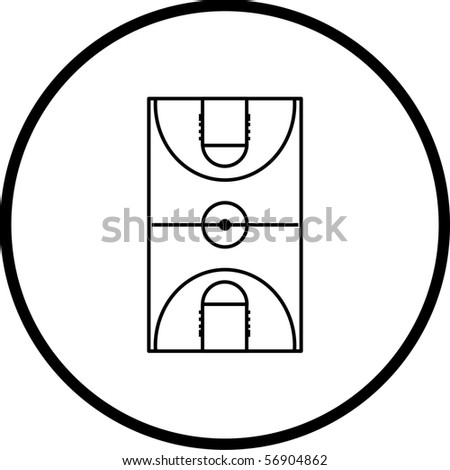 basketball court symbol - stock photo