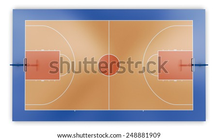 Basketball court top view. 3d render image. - stock photo