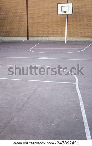 Basketball court with basket and symbols, sport - stock photo