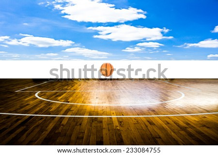Basketball court with blue sky - stock photo