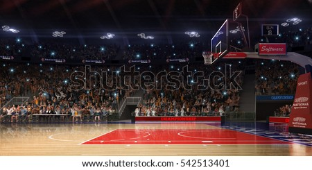 Basketball court with people fan. Sport arena.Photoreal 3d render background. blured in long shot distance(like leans optical), a little noise (like photography) colour