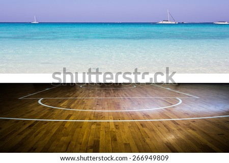 basketball court with view of the sea - stock photo