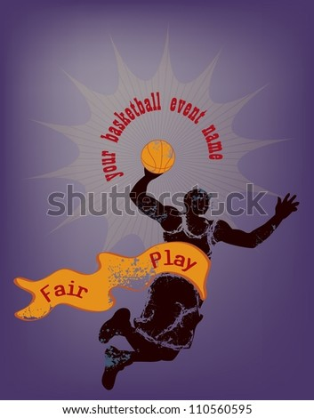 basketball design template with man jumping holding basket ball, and ribbon on blue background - stock photo