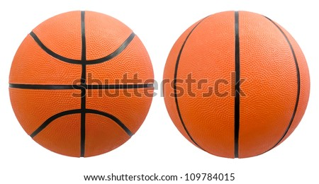 Basketball from different angles isolated on white - stock photo
