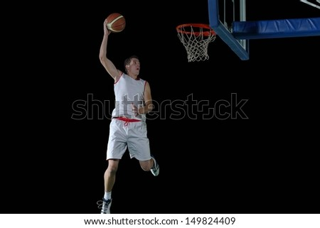basketball game sport player in action isolated on black background