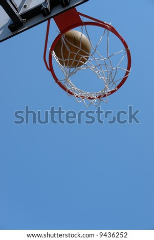 Basketball hitting the backboard net against clear blue sky