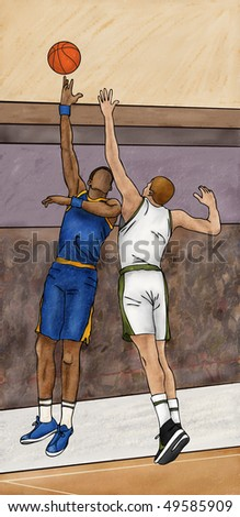Basketball Hook Shot - stock photo