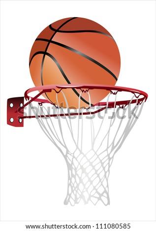 basketball hoop and ball (basketball hoop with basketball, basketball and hoop) - stock photo