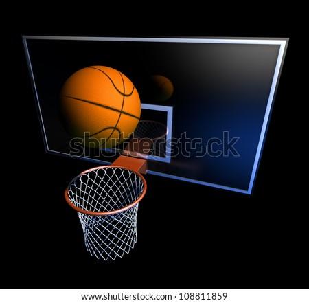 Basketball hoop and basketball ball Illustration of a basketball hoop and a basketball ball at a black background - stock photo