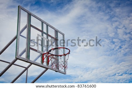 basketball hoop and board at outdoor - stock photo