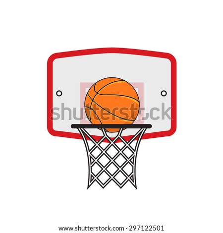 Basketball hoop and orange ball on the white background - stock photo