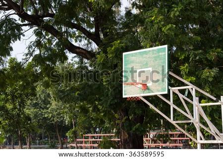 Basketball hoop basketball in the park. Keys made of wood basketball court basketball in the park. - stock photo