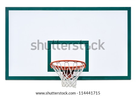 Basketball hoop cage, isolated large backboard closeup, new outdoor court set, green, red, orange, white back board blank copy space background - stock photo