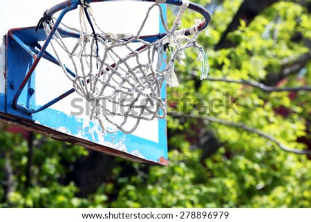 Basketball hoop close up - stock photo