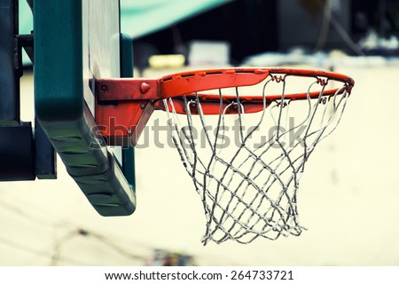 basketball hoop in vintage style picture - stock photo