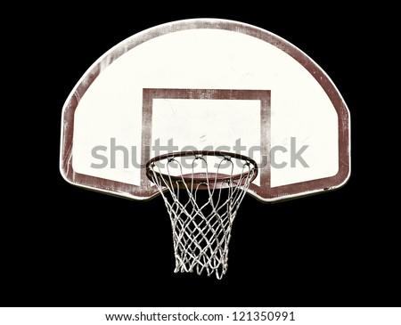 Basketball hoop isolated on black - stock photo