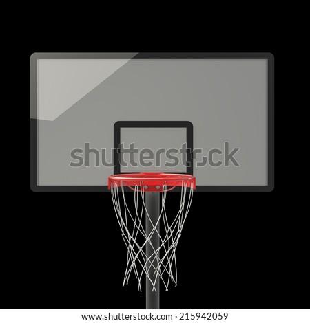 basketball hoop. isolated on black background. 3D image - stock photo