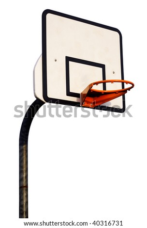 basketball hoop isolated on white - stock photo