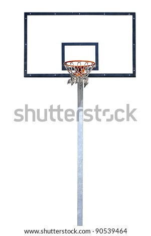 Basketball hoop isolated over a white background. - stock photo