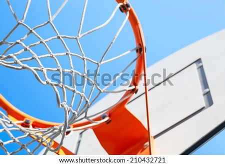 basketball hoop on a background of blue sky - stock photo