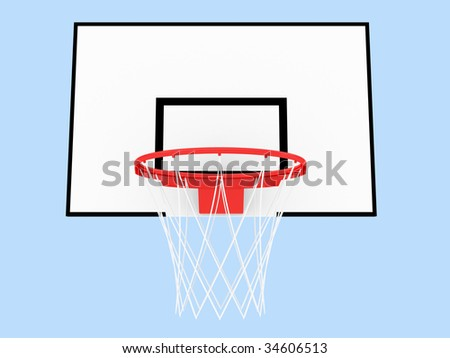 Basketball Hoop on a blue background