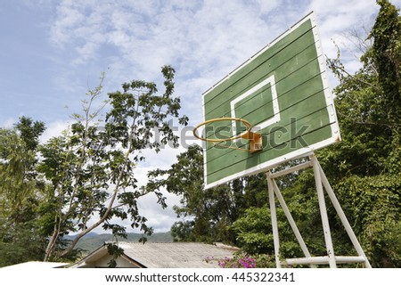 Basketball hoop outdoor with blue sky.