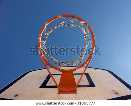 Basketball hoop seen from right under - stock photo
