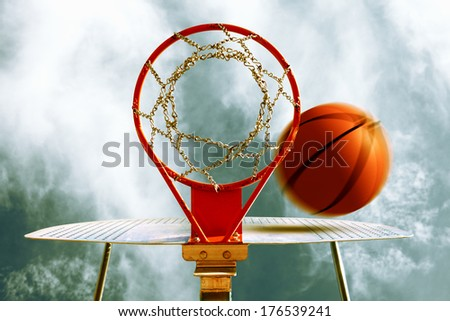 Basketball hoop. Sport background - stock photo