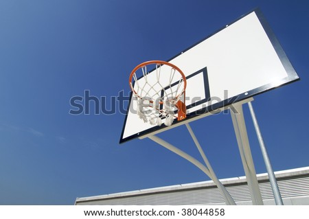 basketball hoop with blue sky